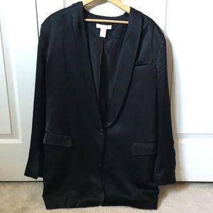 H&M Plus Size Satin Tuxedo Blazer